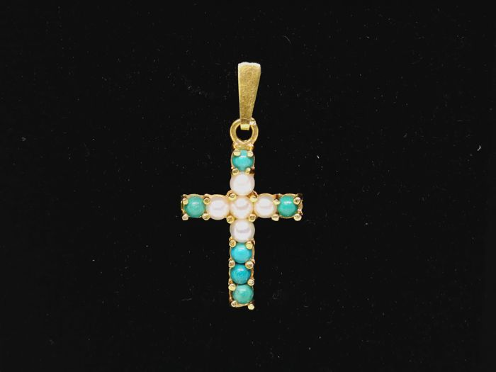 Pendant cross of 18 kt gold (750) - Cultured pearls - Turquoise paste - 2.7 cm