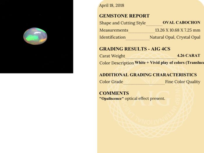 White Vivid Play of Colors Crystal Opal - 4 26 ct - Catawiki