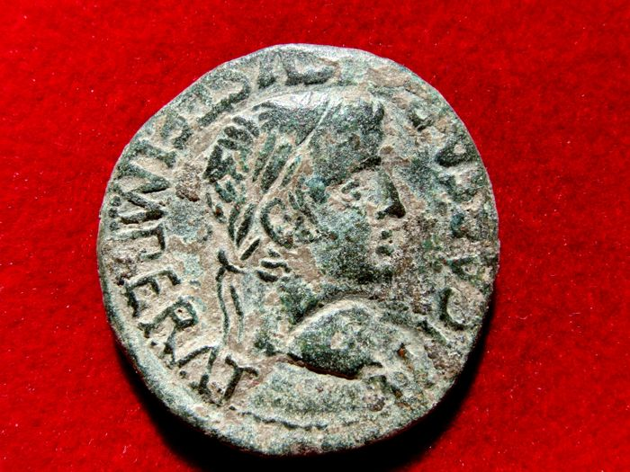 Roman Hispania - Tiberius (14–37  AD), bronze as (12.59 g,  27 mm) struck at the mint of Turiaso (Tarazone, Zaragoza). MVN TVR. Legionary seal, eagle's head. Rare.