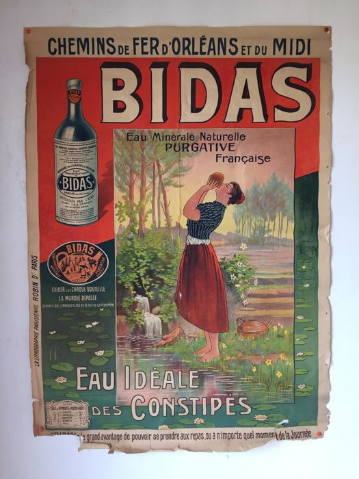 Large poster for Eau BIDAS des source des landes - French railway company