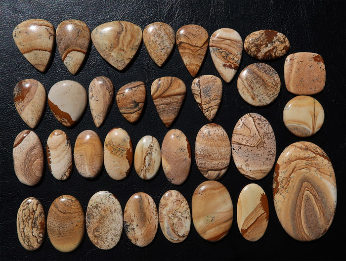 Impressive lot of natural Jasper - cabochons of various shapes - 3 to 7cm - 242 g - 1210 Ct (33)