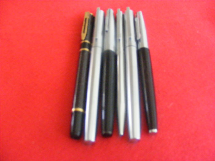 Set of 6 pens including 4 fountain pens (Waterman, Mallat, and AA)