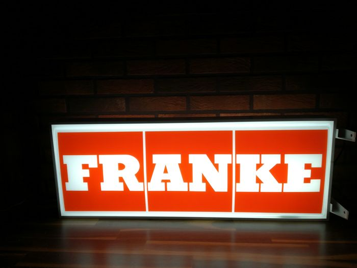 Switzerland FRANKE, bilateral light advertising with twilight sensor, neon  Dim: 100x36x16 cm.