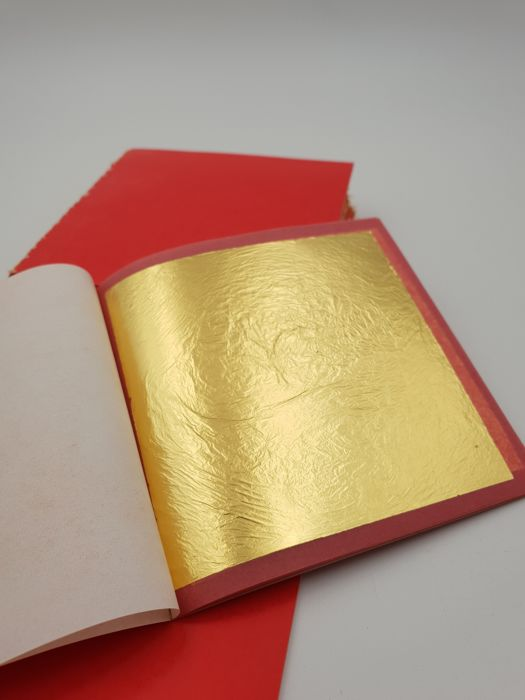 500 sheets of authentic FF gold leaf Feingold of 24k, 8 cm x 8 cm