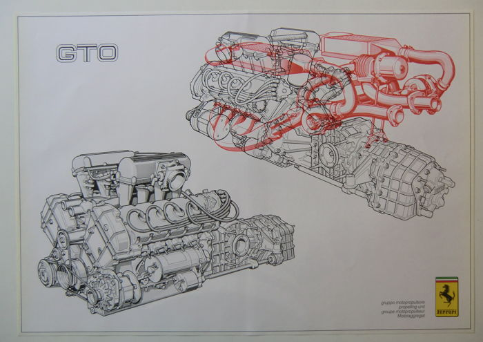 Ferrari GTO '84 + GTB/GTS turbo + BB512i motor diagram