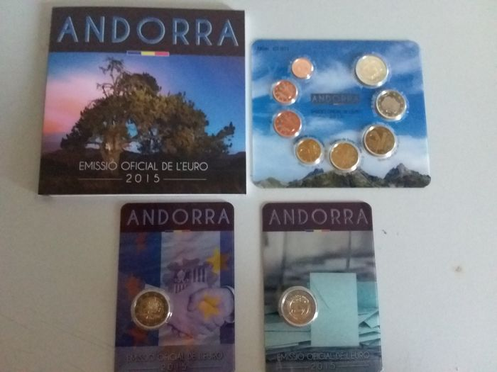 Andorra 2015 Bu + 2 Euro cc Customs + 2 Euro Voting Rights (Total 3 sets)