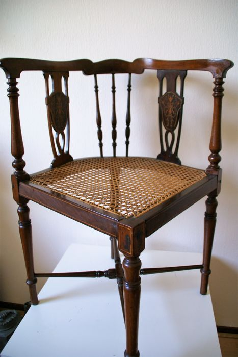 Beautiful Antique Wooden Corner Chair Circa 1900