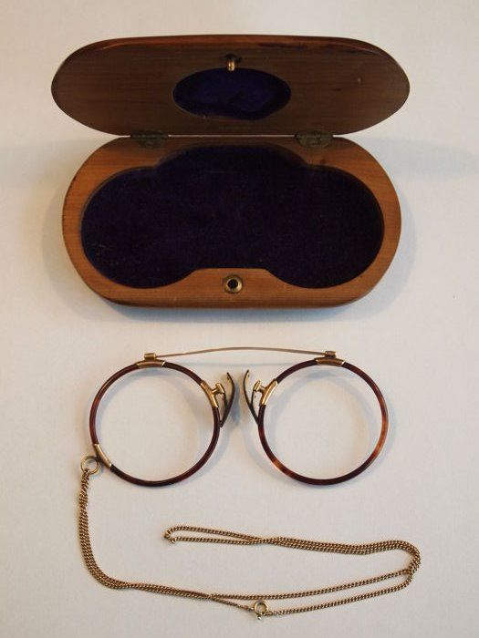 4fdce334736 Antique Gold Spring Bridge Pince Nez with 14k chain and original wooden  inlay box signd D.R.G.M