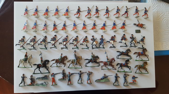 Lot of metal flat toy soldiers - Germany - 1900-1915
