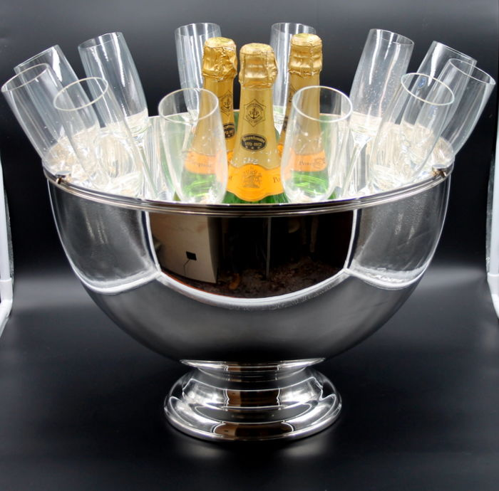 RARE champagne serving bowl Veuve Clicquot Ponsardin - PRODUX, Orfevrerie Saint Hilaire FRANCE + 12 glasses - 1970s - NEW