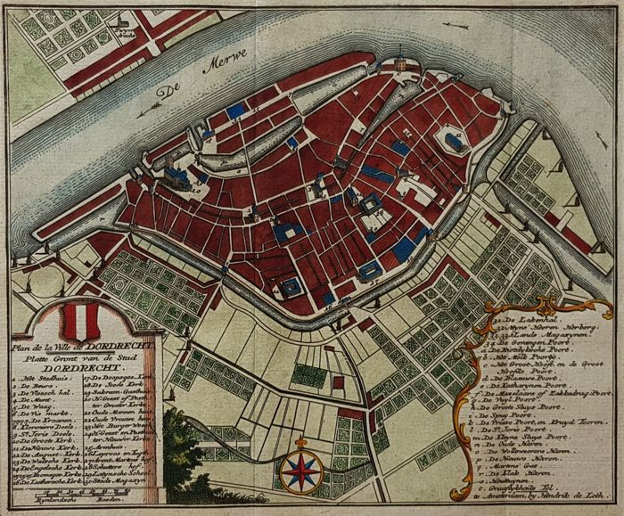Dordrecht Hendrik de Leth Map of the City Dordrecht 1740 Catawiki