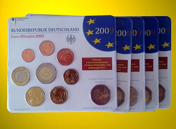 Germany 2009 Euro Set A D F G J Including 5 X Euro 2 Saarland