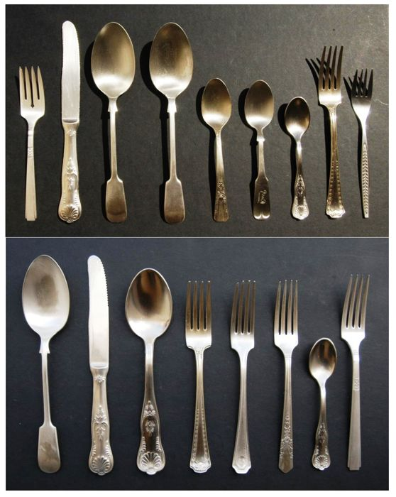 Antique Silver and Silver Plated Cutlery, European, Late 19th Century