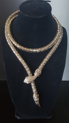 WHITING&DAVIS silver toned Mesh Coil Snake Belt/Necklace in excellent condition