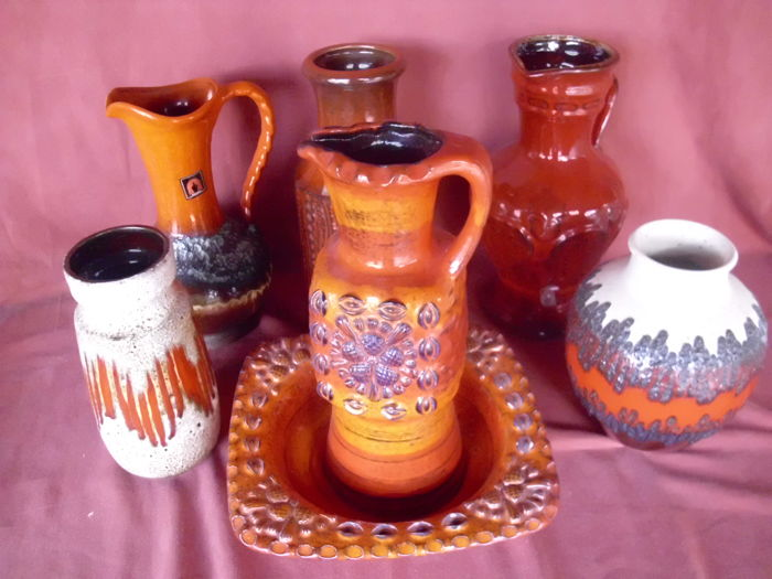 Collection of 7 Vintage Vases, Red Lava, Marked