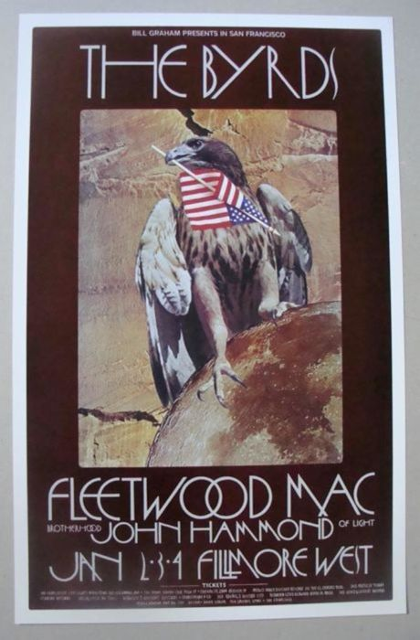 The Byrds / Fleetwood Mac at the Fillmore West 1970 Poster San Francisco by David Singer