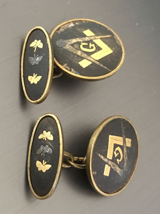 Original Antique Grand Lodge Masonic Freemasonry enameled goldplated Cufflinks with square and compasses and butterflies, marked, rare.