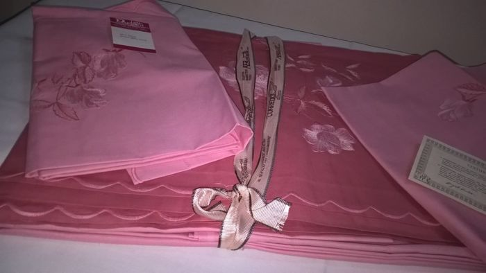 Lenzuola Matrimoniali Ricamate Paoletti.Two Double Bed Sheets With Two Pillowcases Vintage A Paoletti