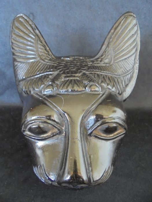 Finley carved Egyptian Sphinx Cat, made from Lava stone with hieroglyphics and egyptian symbols,