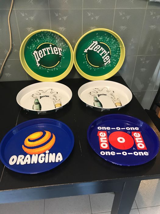 Trays - collection of 6 pieces Perrier - Orangina - One o One