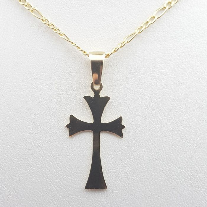 Chain & Cross Pendant, 14 Ct Yellow Gold,