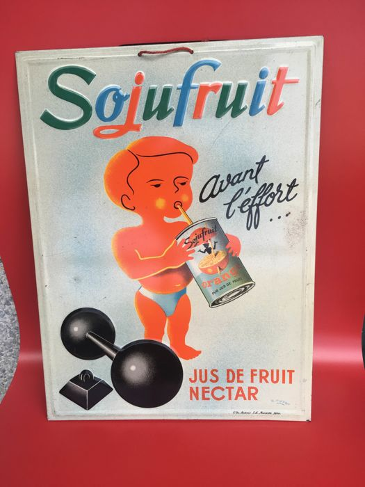 Very rare advertising plate Sojufruit
