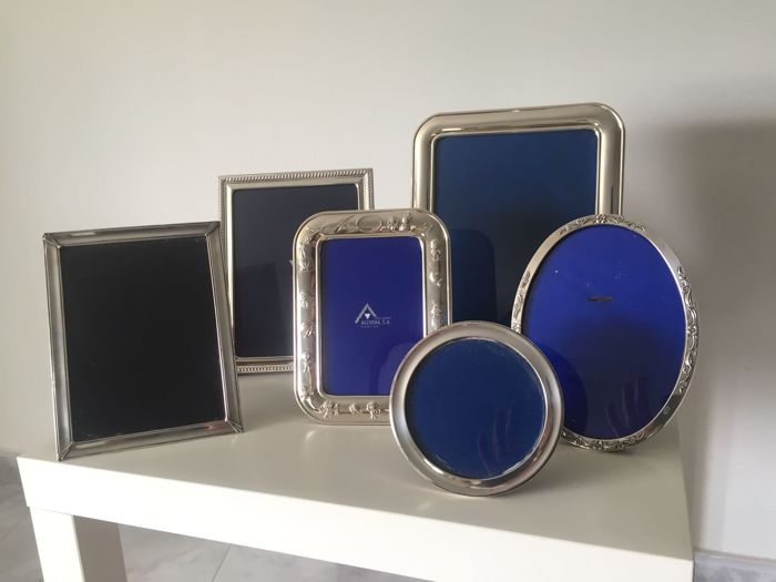 A collection of silver picture frames, in different shapes and sizes - Spain - second half of the 20th century