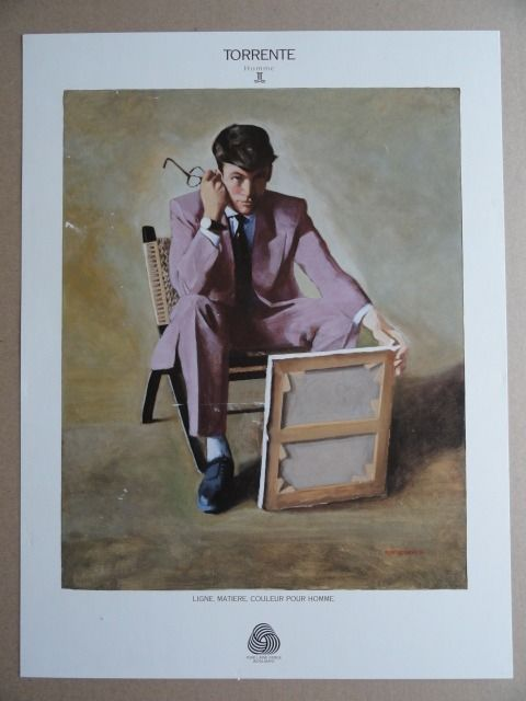 Advertising photography for TORRENTE Homme - represented by a painting of a seated man by Pontecorvo 91.