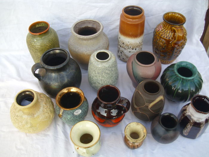 Collection of 16 Pieces of Vintage Designer and Studio Vases, Marked