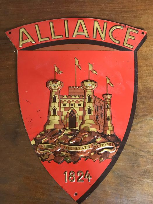 Old insurance advertising plaque  Alliance - 1824 In shield format.
