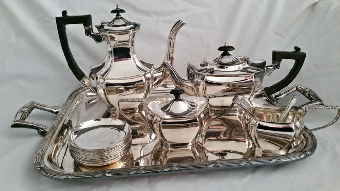 6-piece silver plated tea and coffee set on a serving tray, incl. 12 saucers - Hollandia Plate