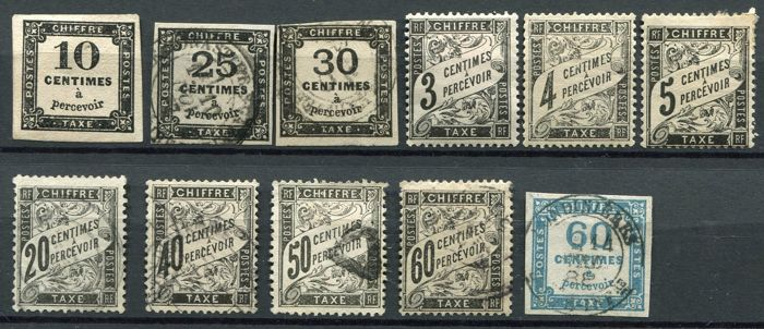France 1859/92 - Selection of tax stamps