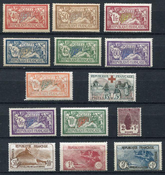 France 1900/27  - Selection of semi-classic stamps Yvert 119/21, 123, 143, 144, 145, 156, 206, 207, 229/32