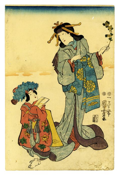 Original woodblock print - Utagawa Kuniyoshi (1797-1861) - Shini-e (memorial portrait) of Kabuki actor in the role of a courtesan with a child attendant - 1847-52