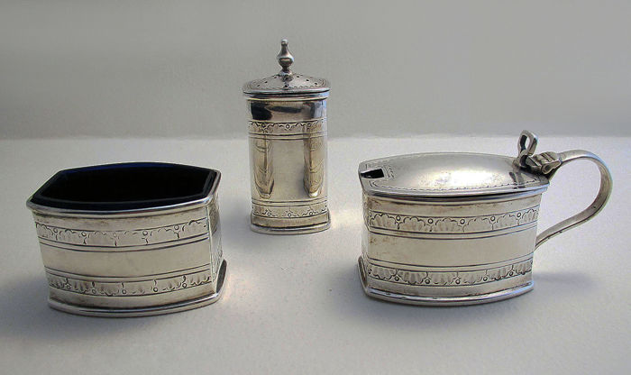 Rare Liberty & Co. (1938-39) Art Deco Solid Sterling Silver CRUET Set (Salt Cellar, Pepper, Pepperette, Shaker, Glass Liner, Mustard Pot)