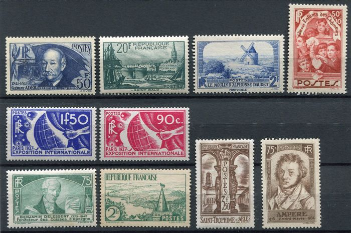 France 1935/38 - Selection of semi-classical stamps Yvert 398, 394, 311, 312, 310, 301, 302, 303, 326, 327