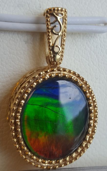 Ammolite Pendant in 14k Gold