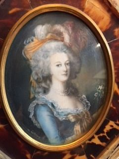 Marie Antoinette portrayed in an oval miniature on ivory with gold framework painted and framed with tortoiseshell circa 1900-1920