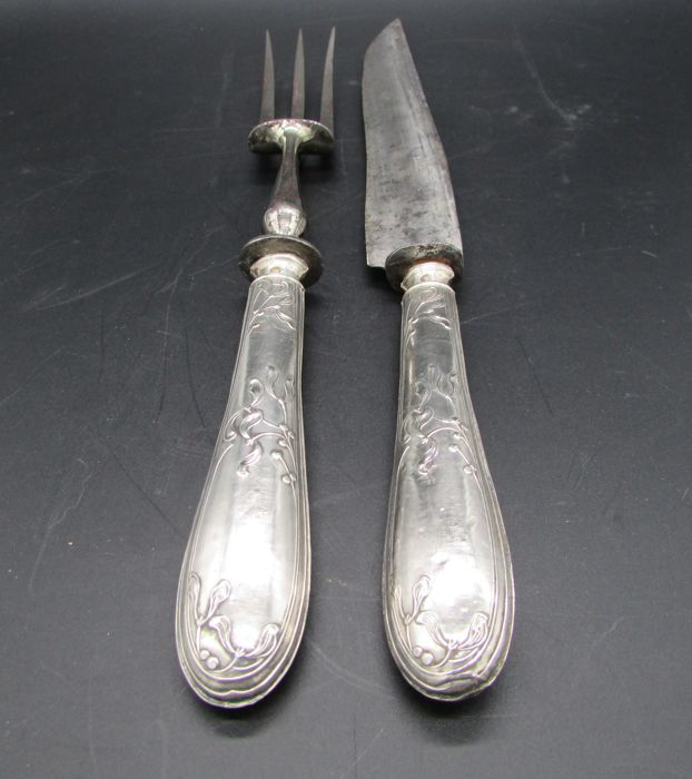 Sterling Silver, Minerva's head hallmark, carving utensils for meat/roast, floral art nouveau decorations, early twentieth century, France