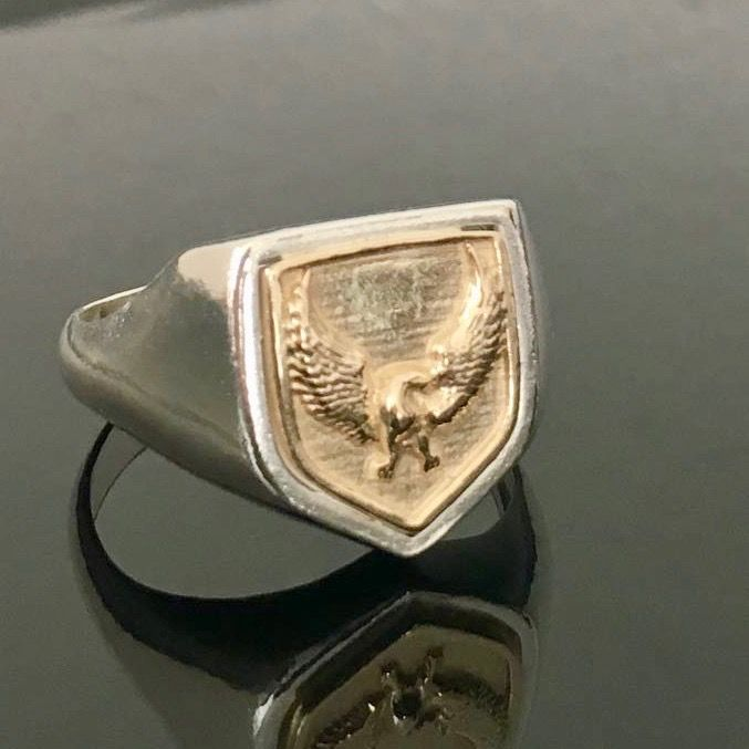 925 Silver & 14kt Solid Gold Phoenix Men's Ring -size W