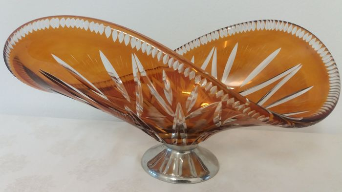 Old centrepiece made of carved crystal, amber-coloured, metal base, 60s