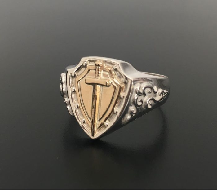 925 Silver&Solid 14kt Gold men's sword ring - size 11.5