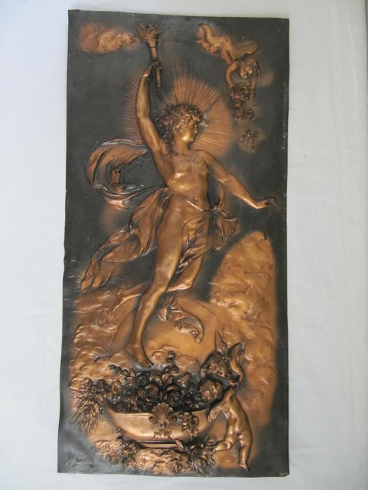 Copper relief plate with mythological depiction, second half 20th century