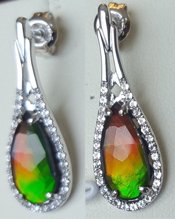 Ammolite Earrings in Silver with White Topaz