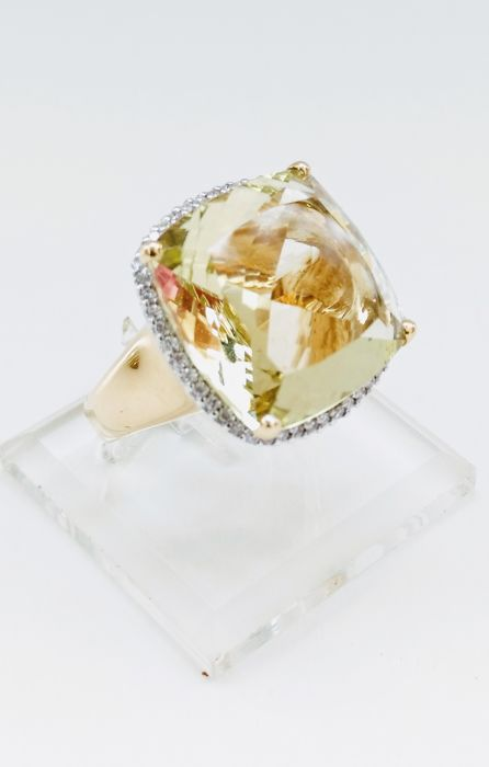 Approx 20.21ct citrine and diamond cocktail ring