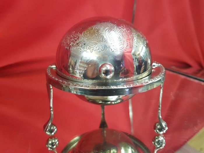 Caviar Roll Container with insert in decorated glass, with legs, silver plated, made in England