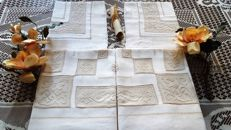 Museum-quality extra pure 100% linen sheet with filet and antique stitch embroidery, entirely handmade