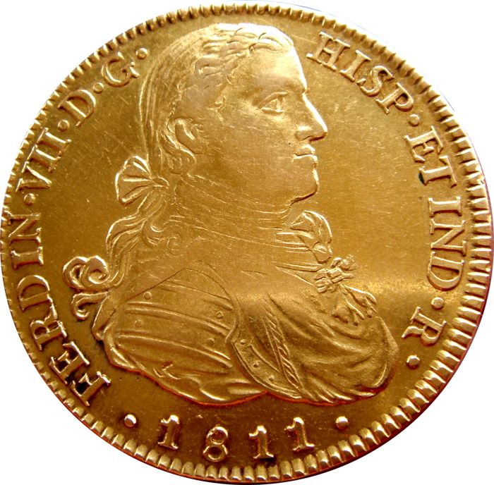 Spain - Fernando VII (1808–1833). Doubloon of 8 Escudos in gold - 1811 - Mexico - J. J. Imaginary bust. Very scarce.