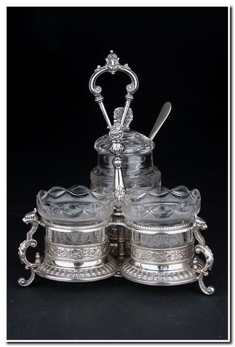 Silver spice stand, probably Belgian