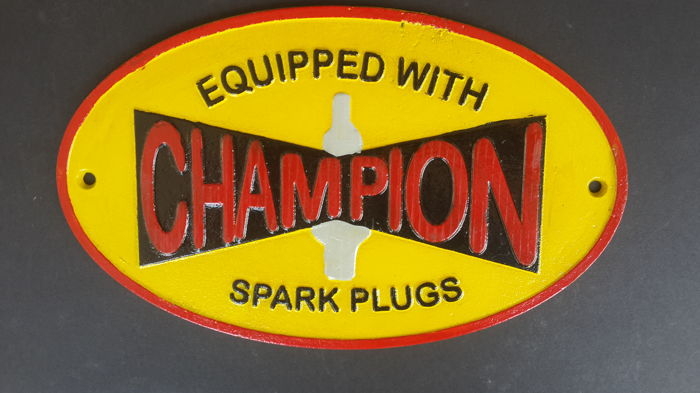 Vintage Champion Sparkplugs Wall Plaque/Sign